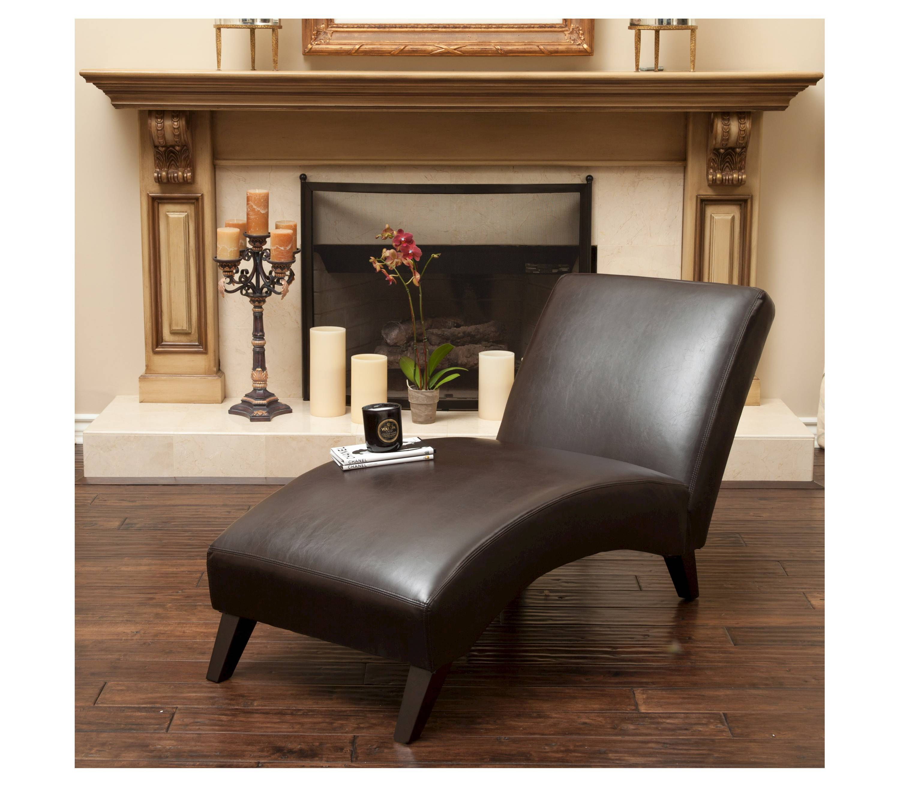 Brown bonded leather chaise lounge discount furniture for Bonded leather chaise