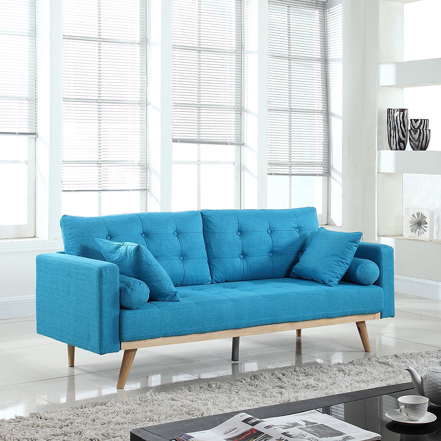 modern tufted linen fabric sofa light blue rochester overstock. Black Bedroom Furniture Sets. Home Design Ideas