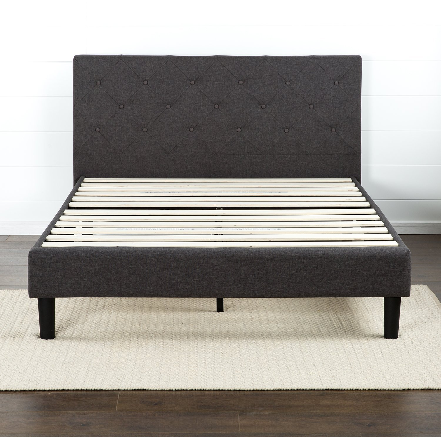 Diamond Stitched Platform Bed With Wooden Slat Support