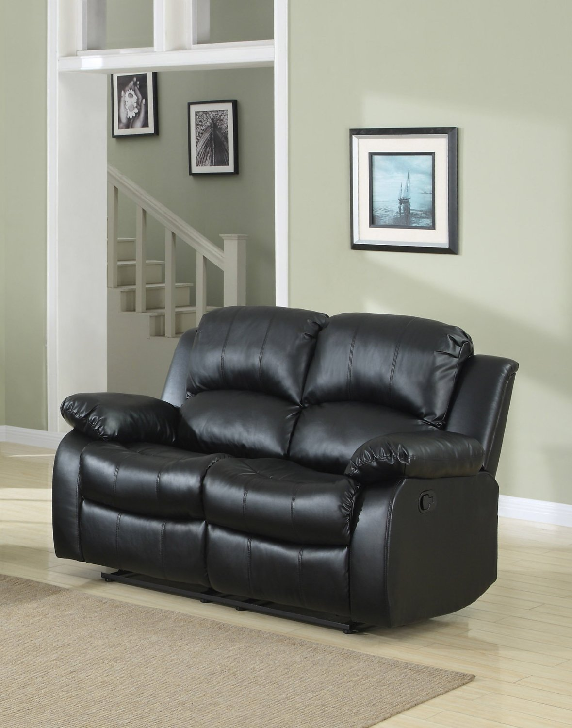 Elegant Double Reclining Loveseat Bonded Leather Living