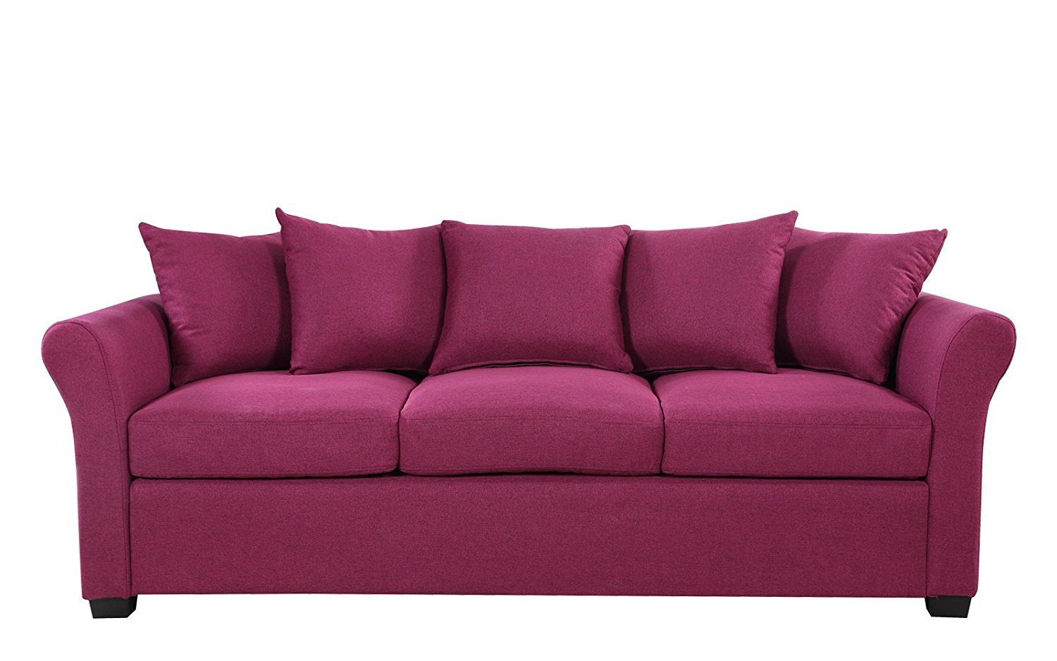 Classic And Traditional Ultra Comfortable Linen Fabric Sofa Living Room Fabric Couch Purple