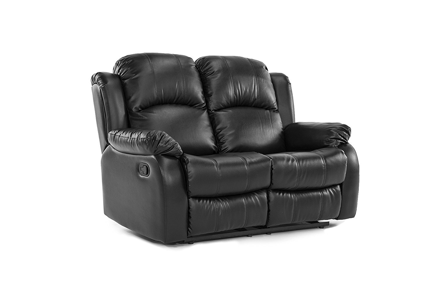 Elegant Double Reclining Loveseat Bonded Leather Living Room Recliner Black Rochester