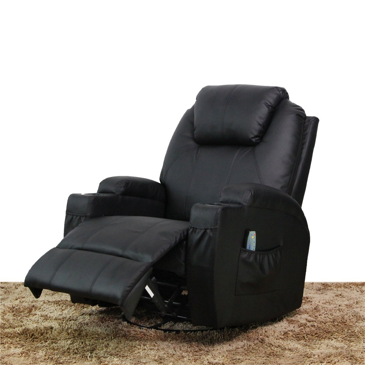 Massage recliner chair heated pu leather ergonomic lounge for Less expensive furniture