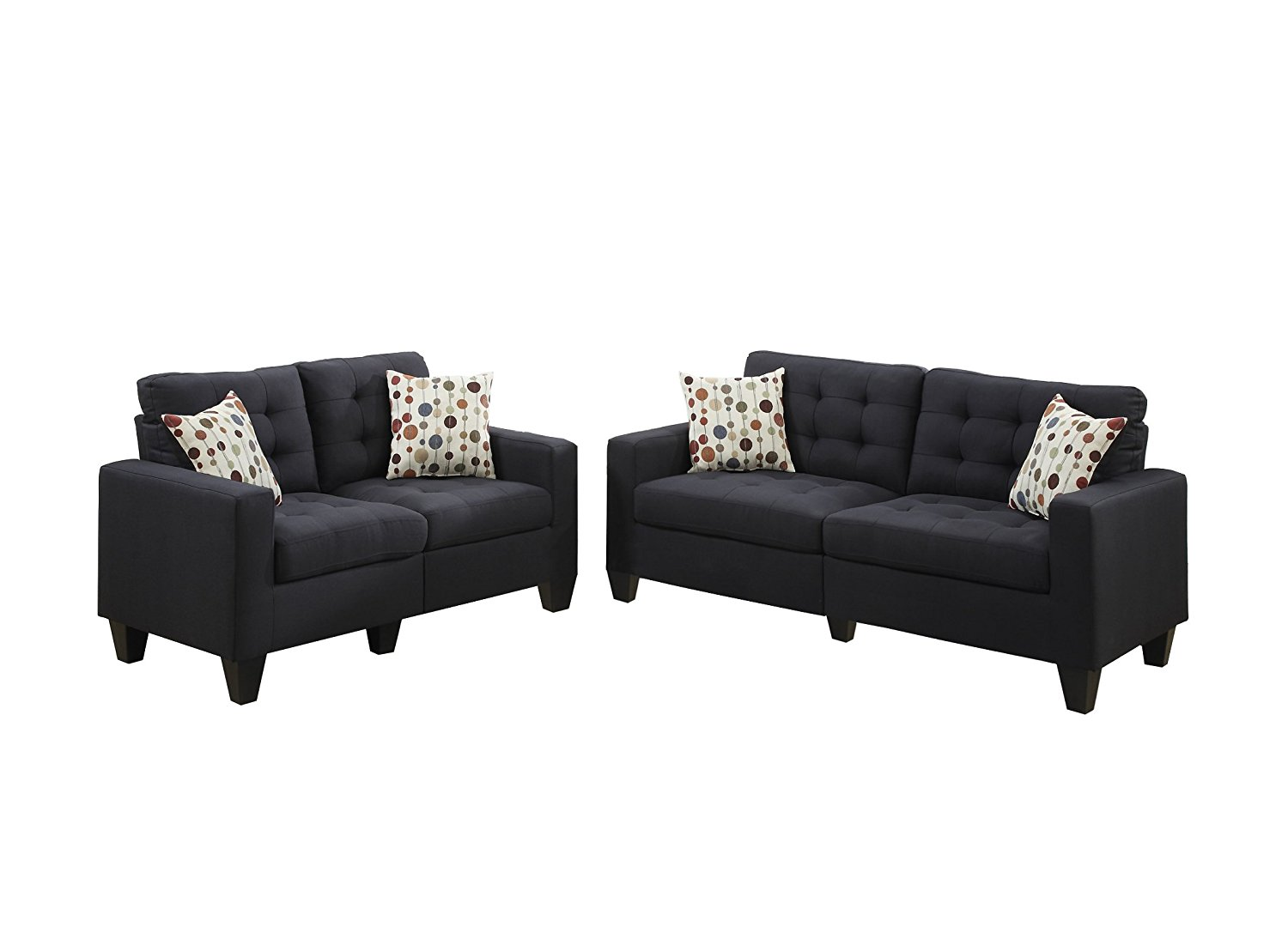 Bobkona Windsor Elite Linen Like 2 Piece Sofa And Loveseat