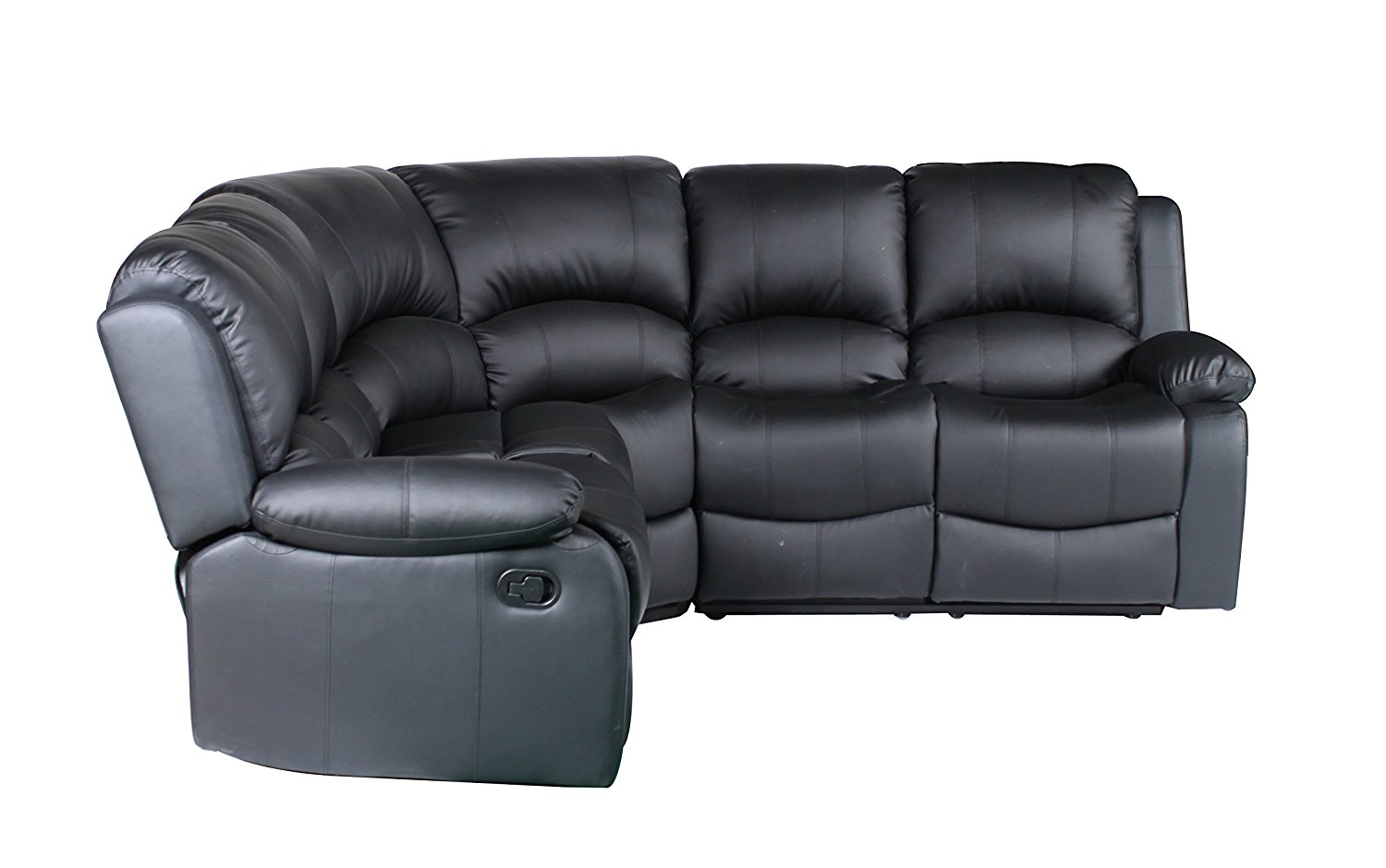 Extra Large Leather Reclining Corner Sectional Sofa For Large Families Cherry Brown Or Onyx