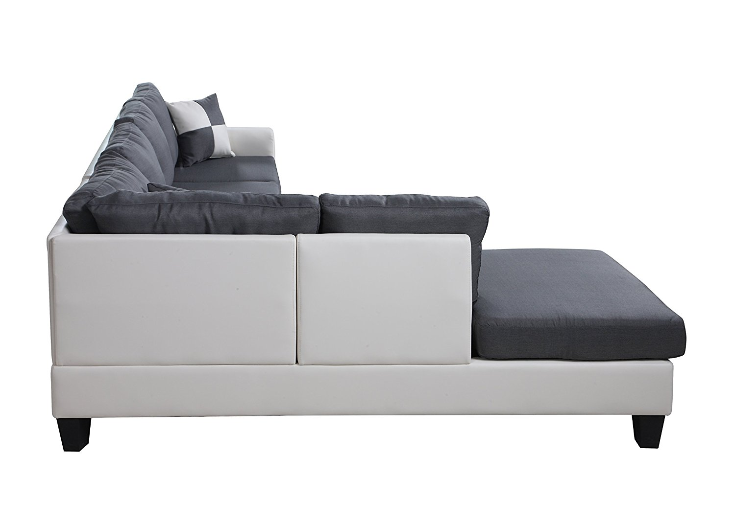 Black Amp White 2 Tone Leather Living Room Sectional Sofa