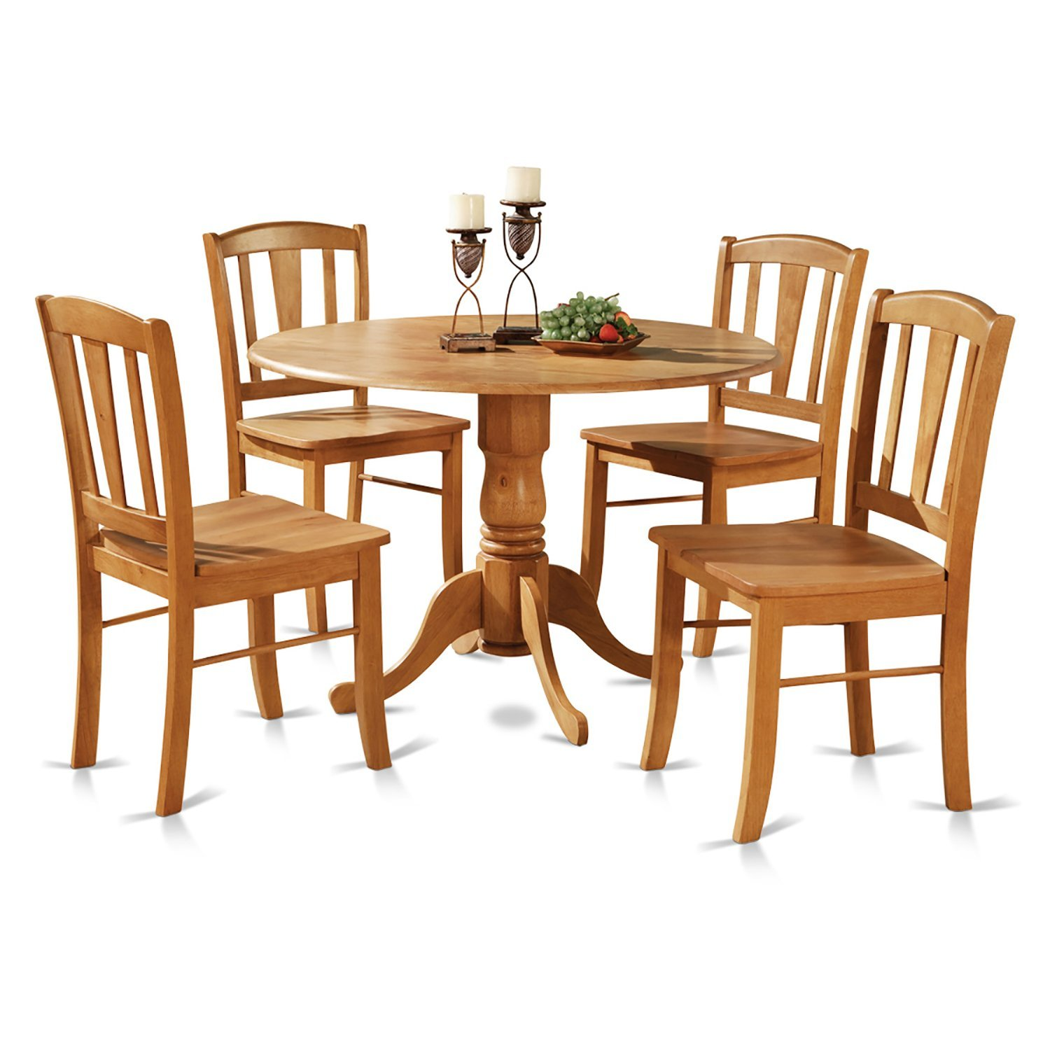 Solid Wood Kitchen Table Sets: 5-Piece Round Kitchen Table And 2 Dinette Chairs Set, Oak