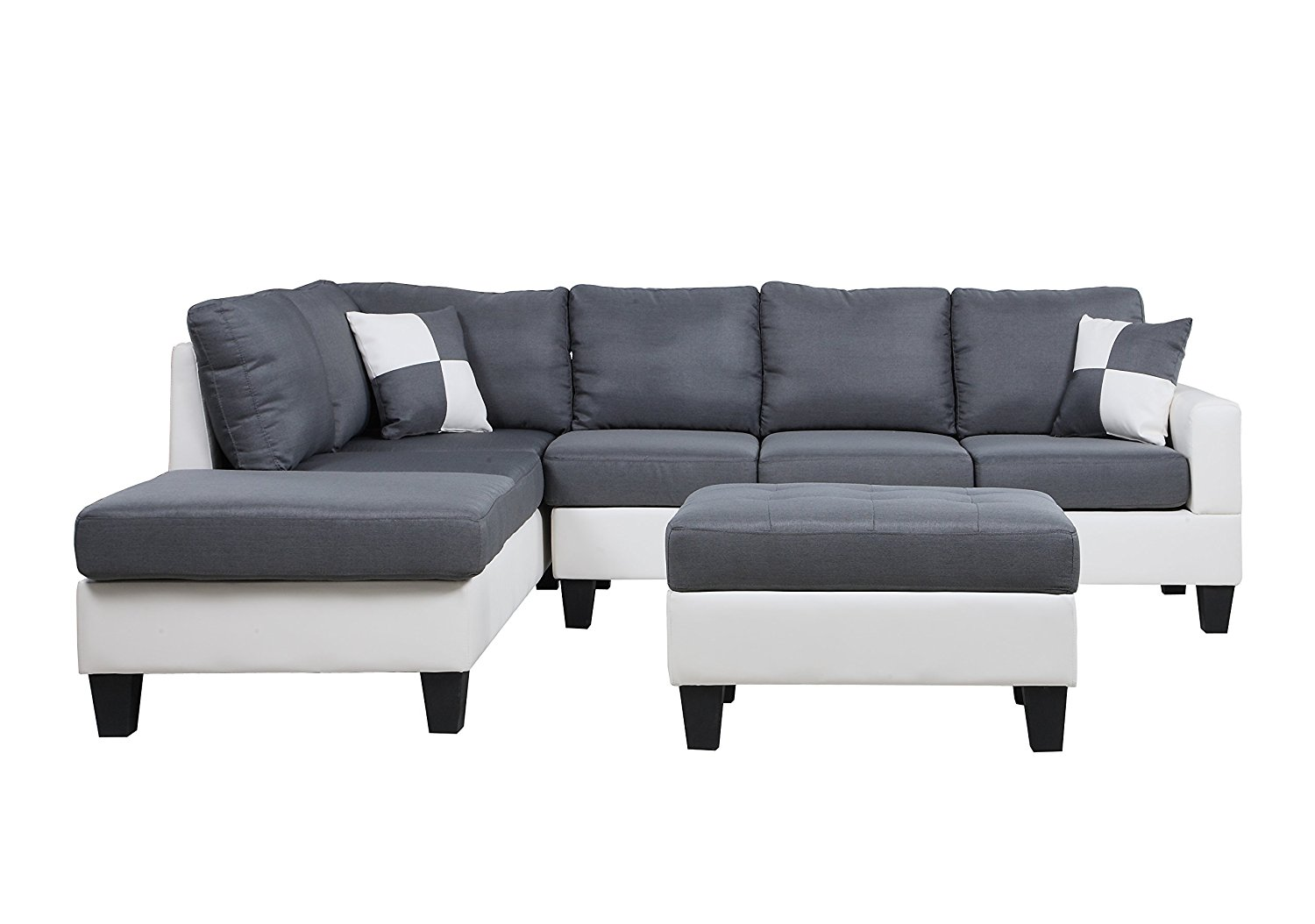 Black & White, 2 Tone Leather Living Room Sectional Sofa (White ...