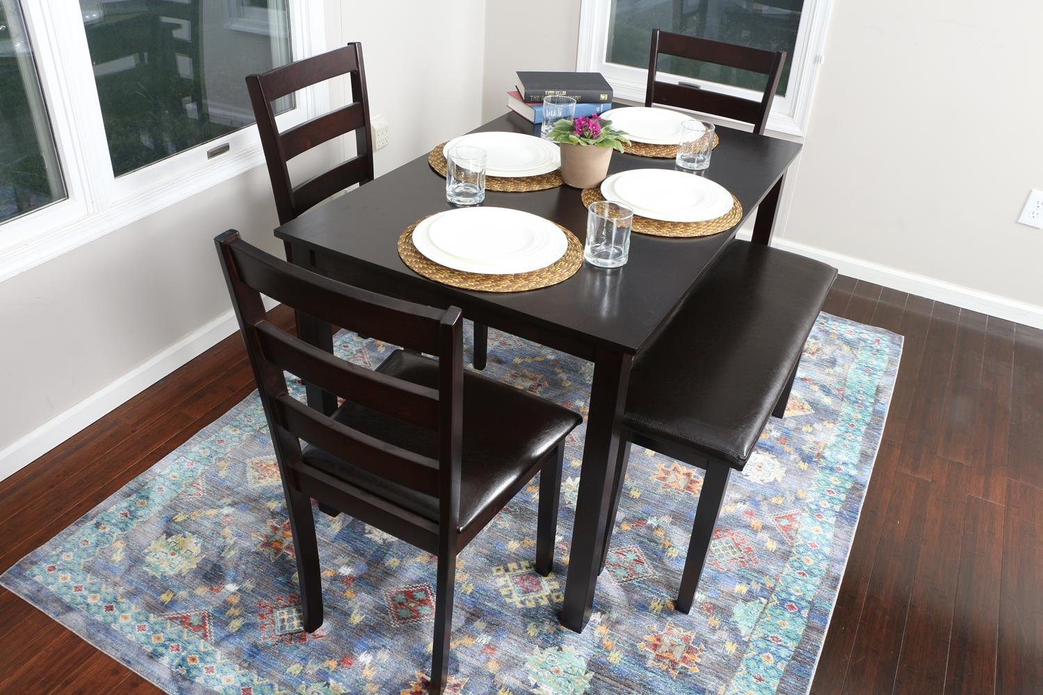 5 piece kitchen dining table set 1 table 3 leather chairs 1 bench espresso brown discount - Bench kitchen set ...