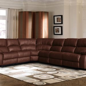 Extra Large Leather Reclining Corner Sectional Sofa For