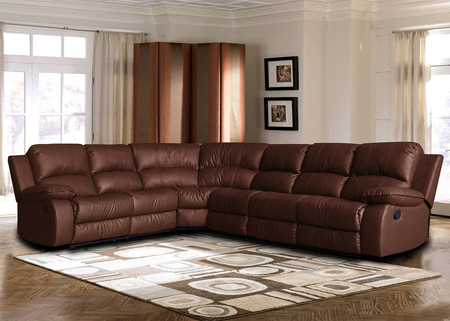 Extra Leather Reclining Corner Sectional Sofa for