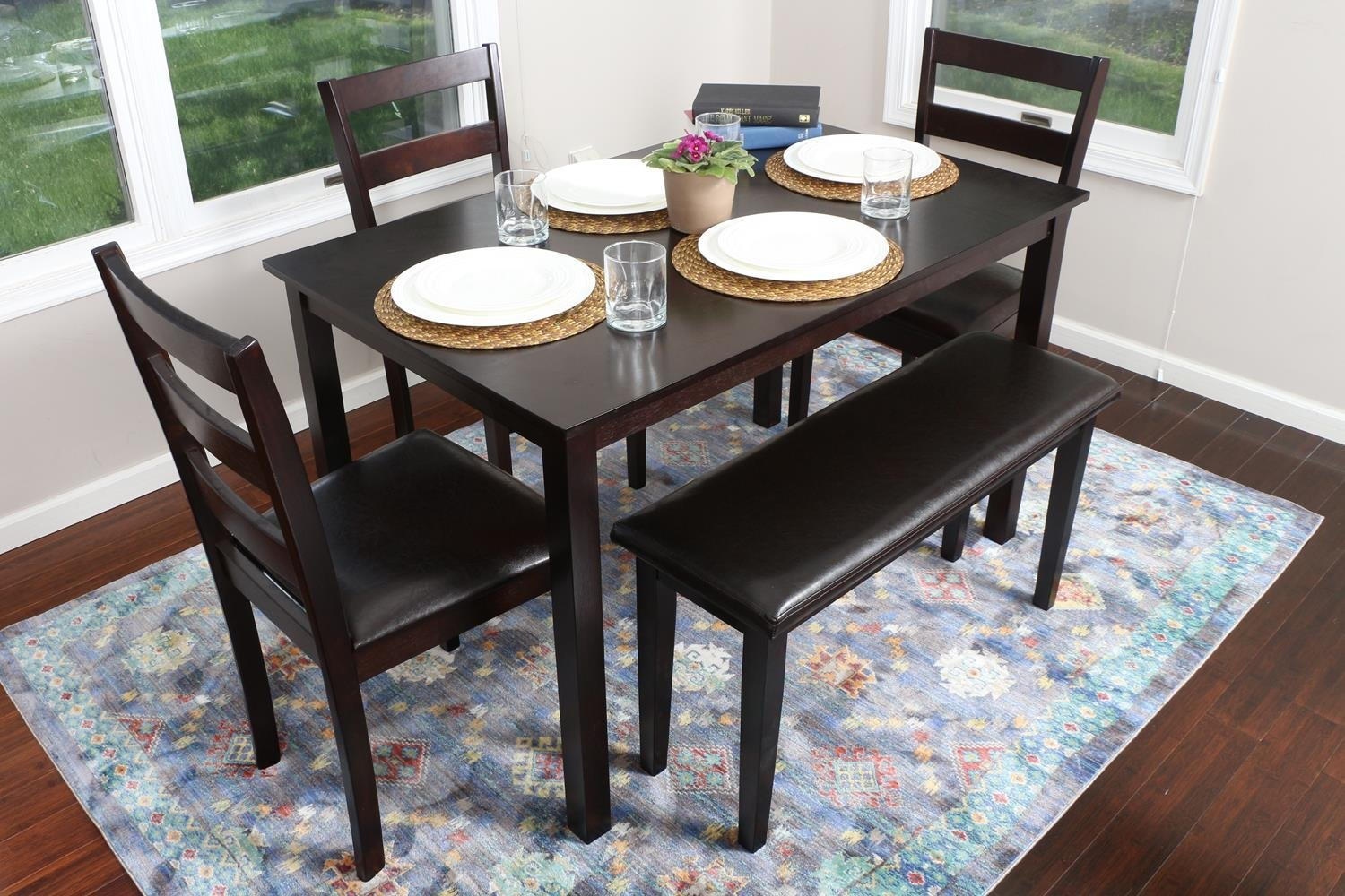 5 Piece Kitchen Dining Table Set 1 Table 3 Leather