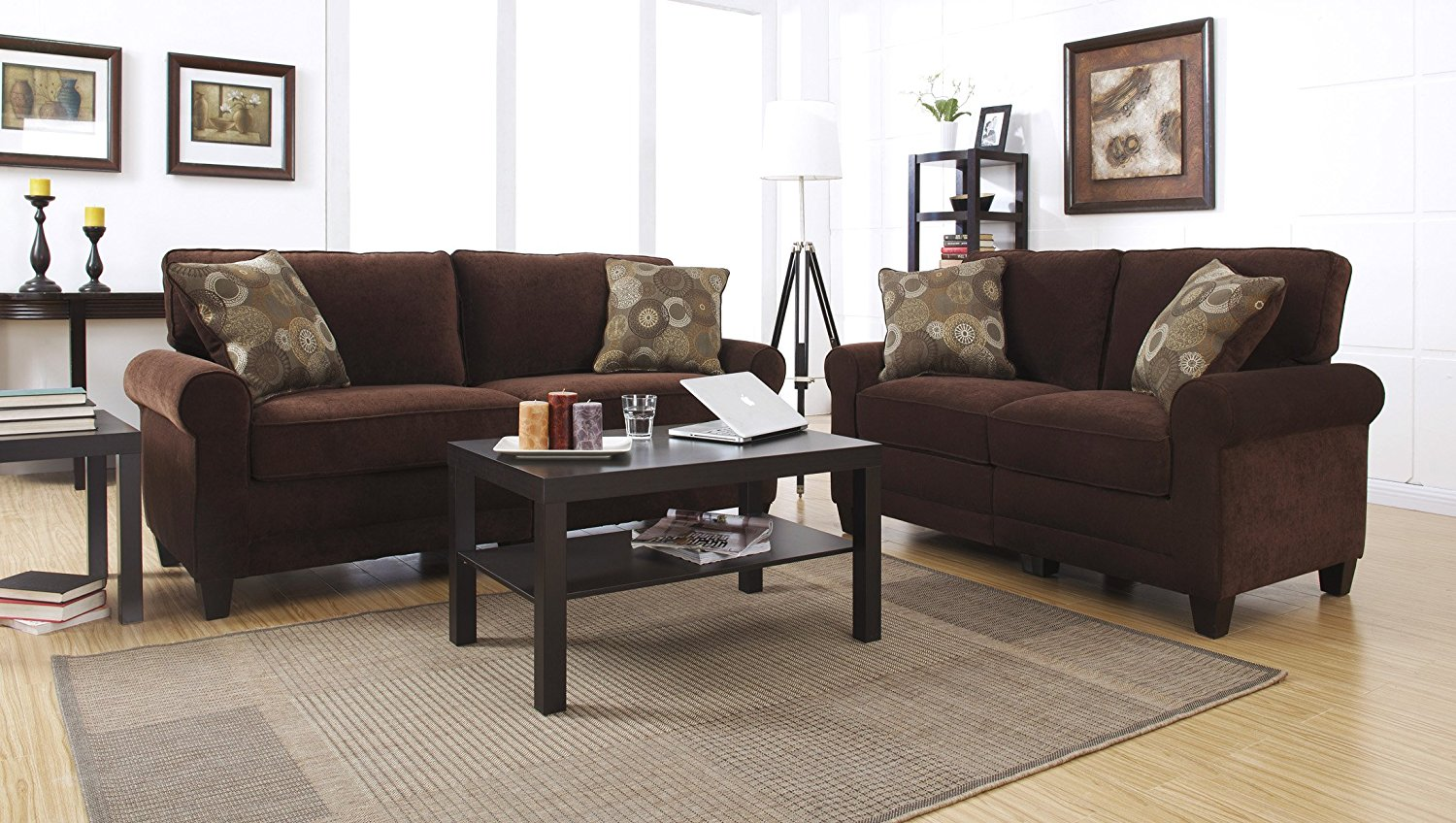 Serta chocolate sofa includes 2 decorative pillows for Affordable furniture 3 piece sectional in jesse cocoa