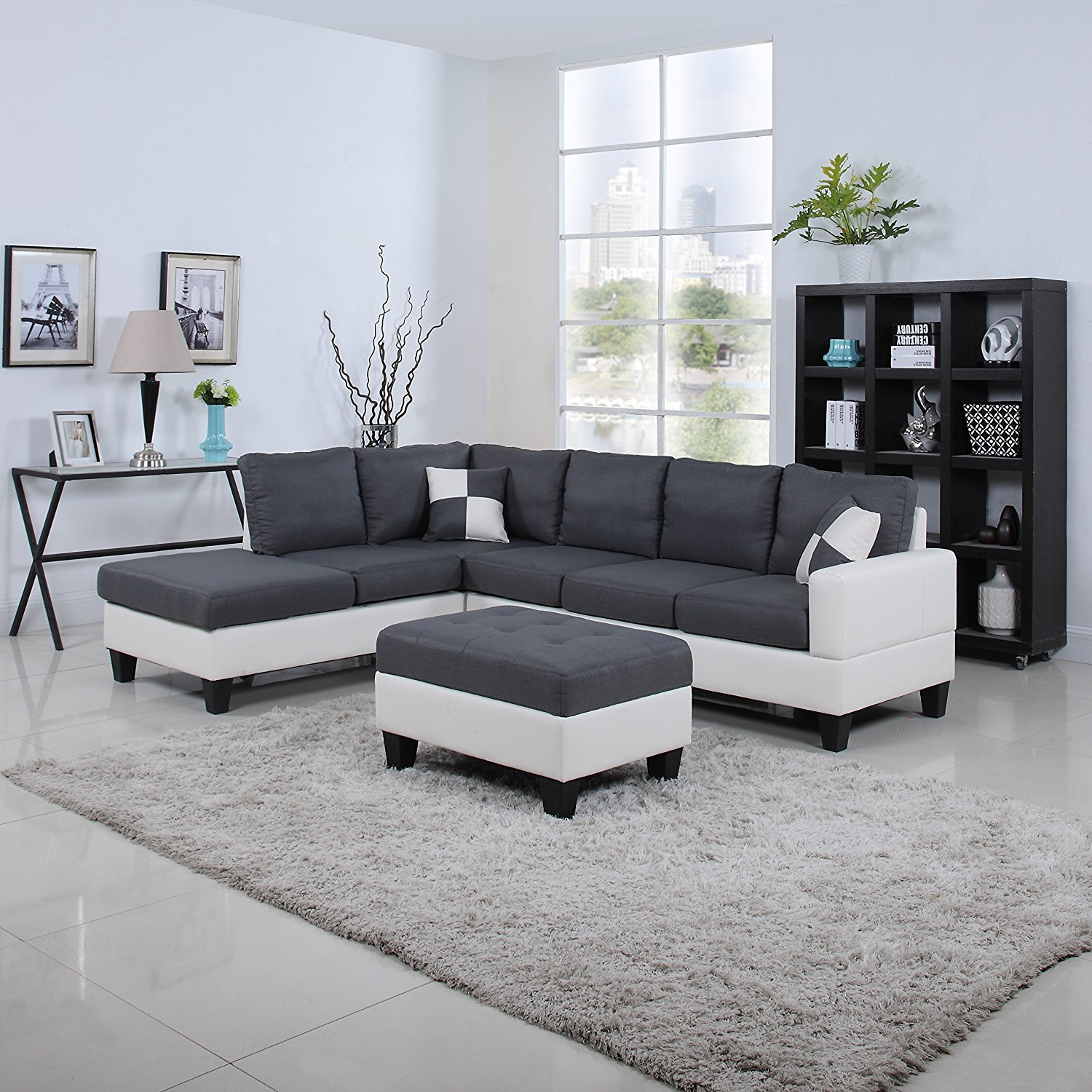 black white 2 tone leather living room sectional sofa white dark grey rochester. Black Bedroom Furniture Sets. Home Design Ideas