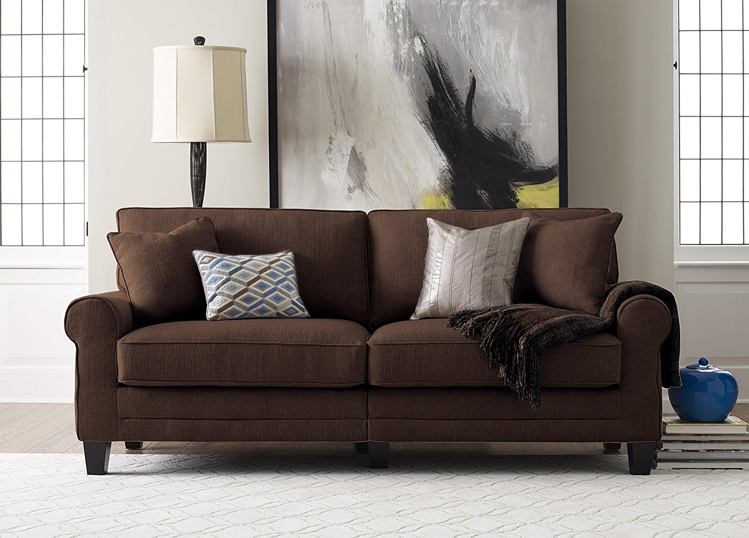 Serta Chocolate Sofa Includes 2 Decorative Pillows