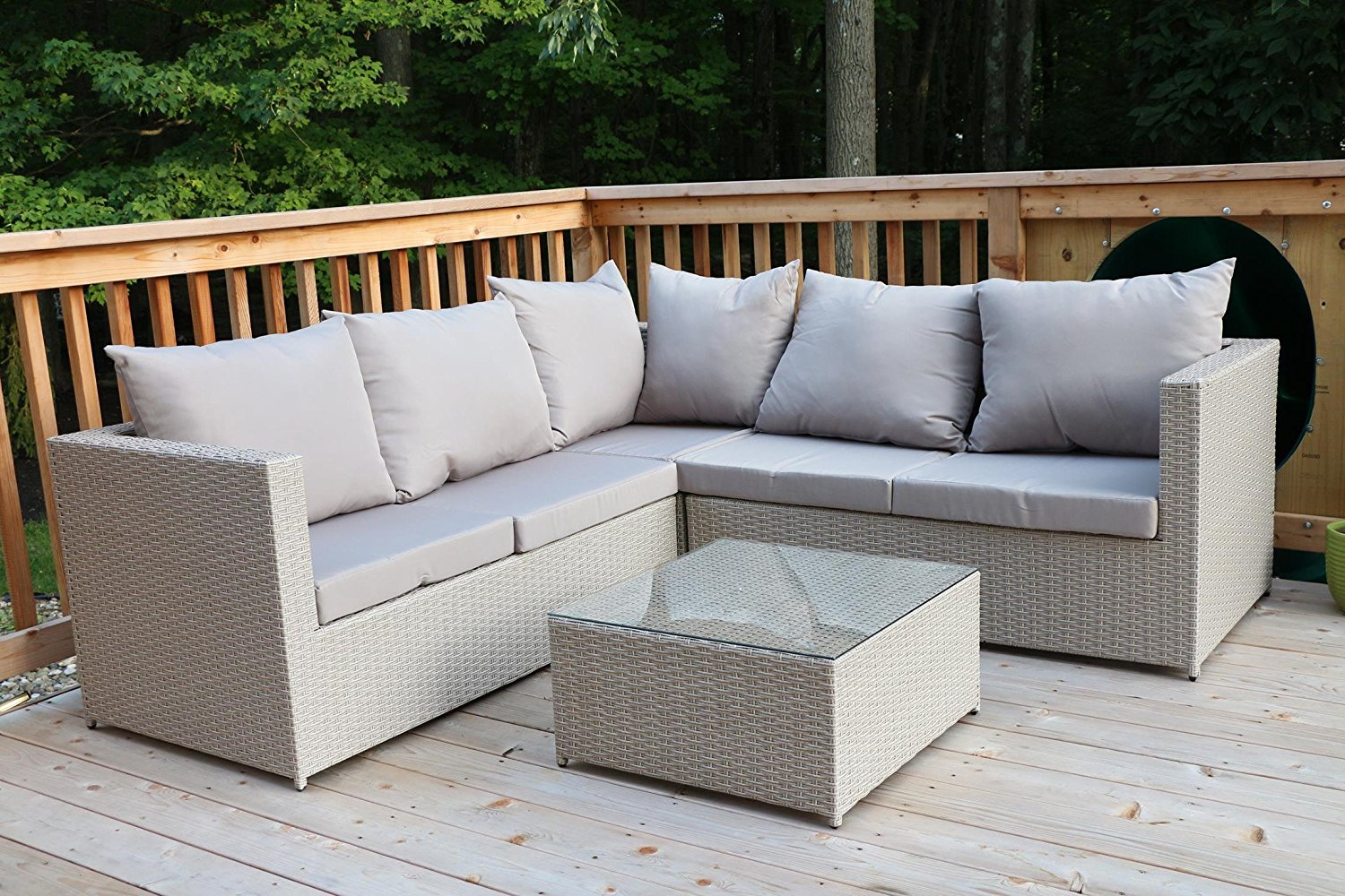 Large 4 Pc Modern Beige Rattan Wiker Sectional Sofa Set ...
