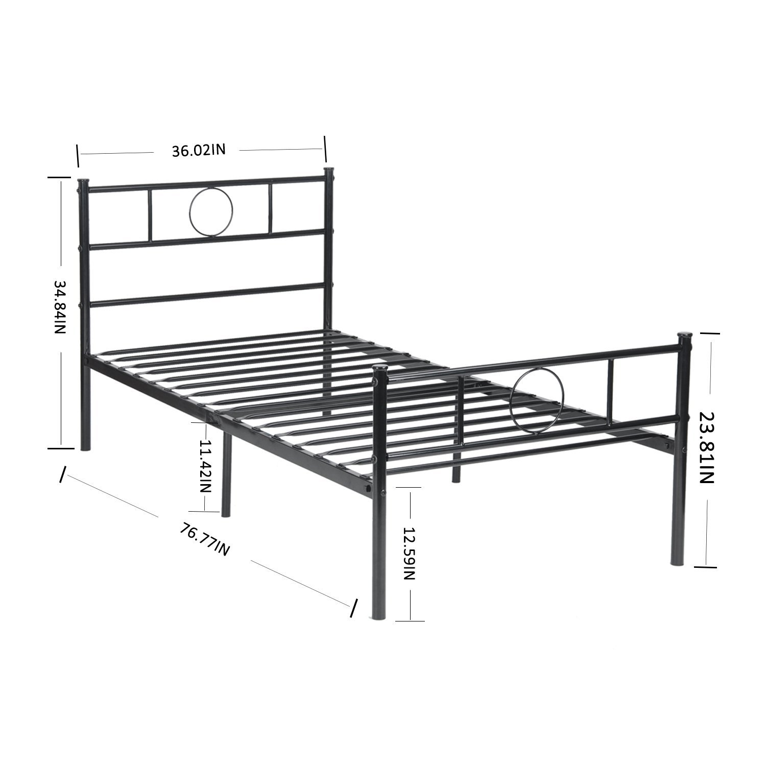 Twin size bed frame stable metal slat support no boxspring for Cheap metal twin bed frame
