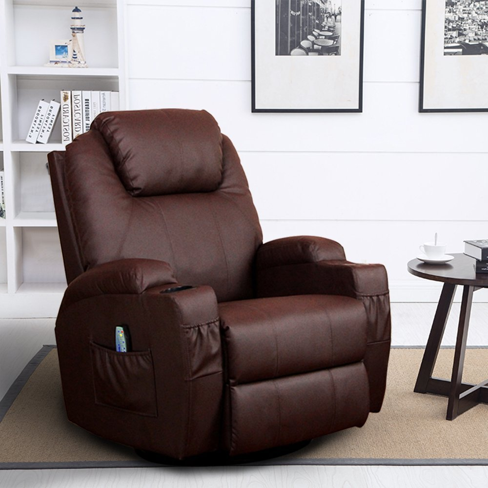 Outstanding 360 Degree Swivel Massage Recliner Leather Sofa Chair Ergonomic Lounge Swivel Heated With Control Brown Unemploymentrelief Wooden Chair Designs For Living Room Unemploymentrelieforg