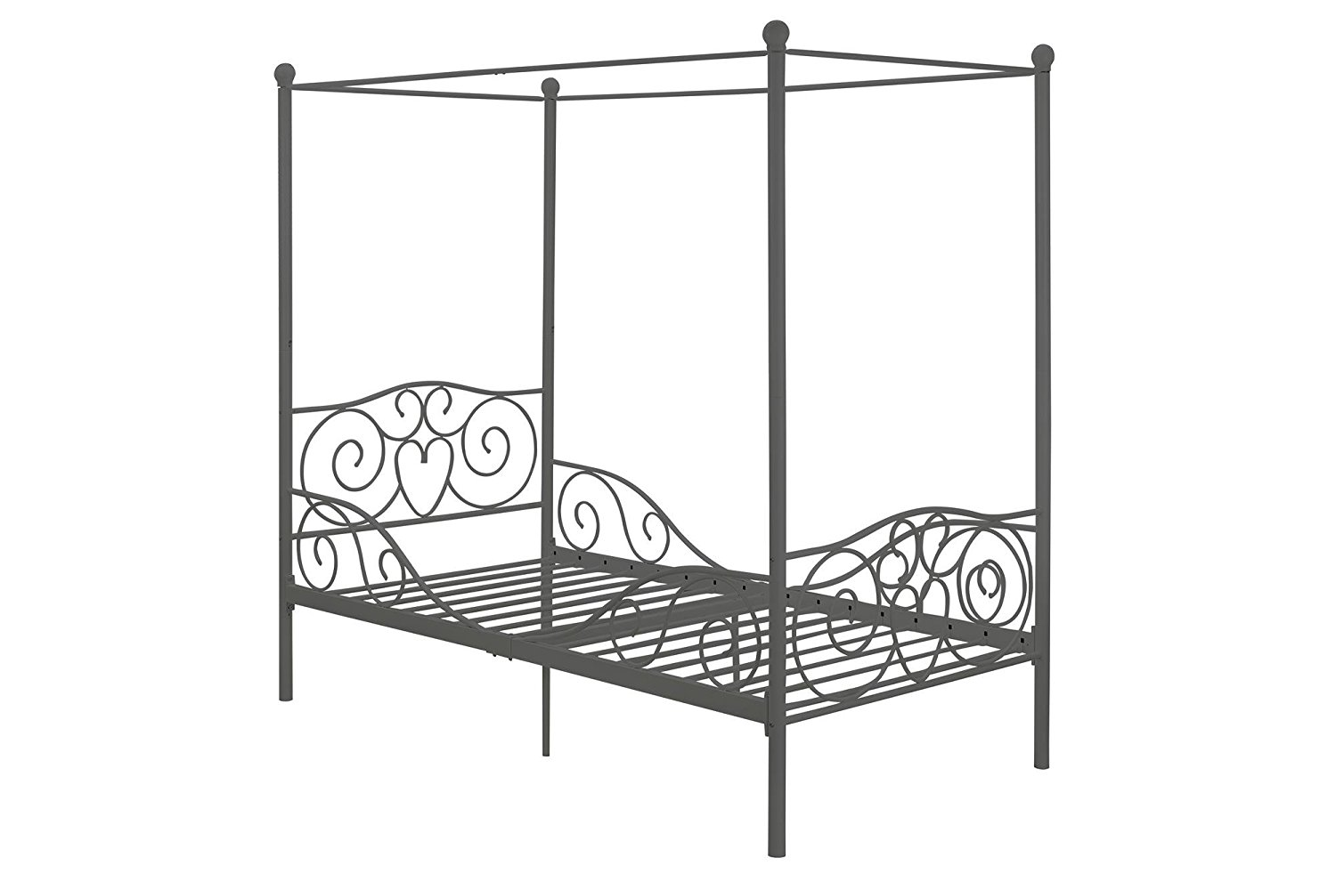 canopy metal bed frame twin size silver rochester overstock. Black Bedroom Furniture Sets. Home Design Ideas