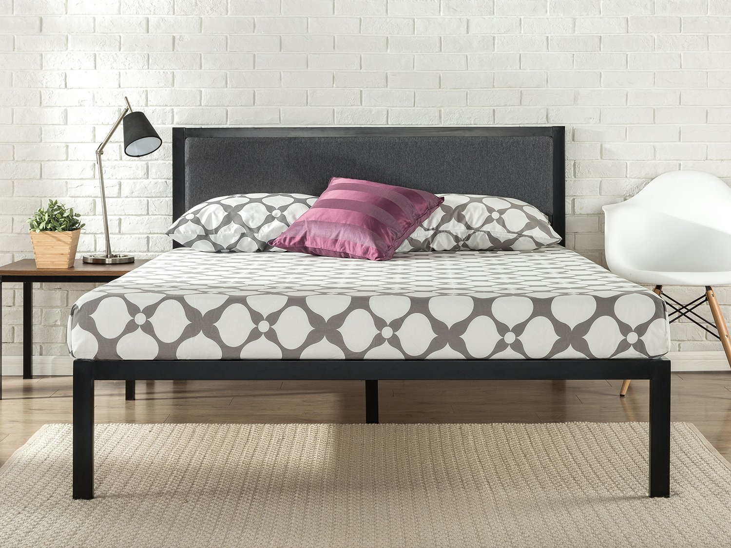 14 Inch Platform Metal Bed Frame With Upholstered