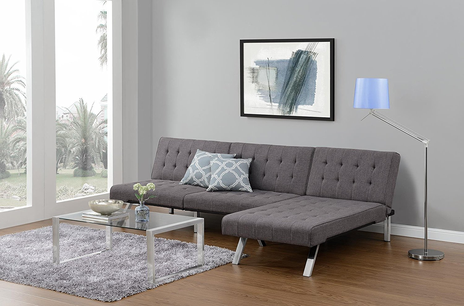 Futon Sofa Bed Modern Convertible Couch With Chrome Legs