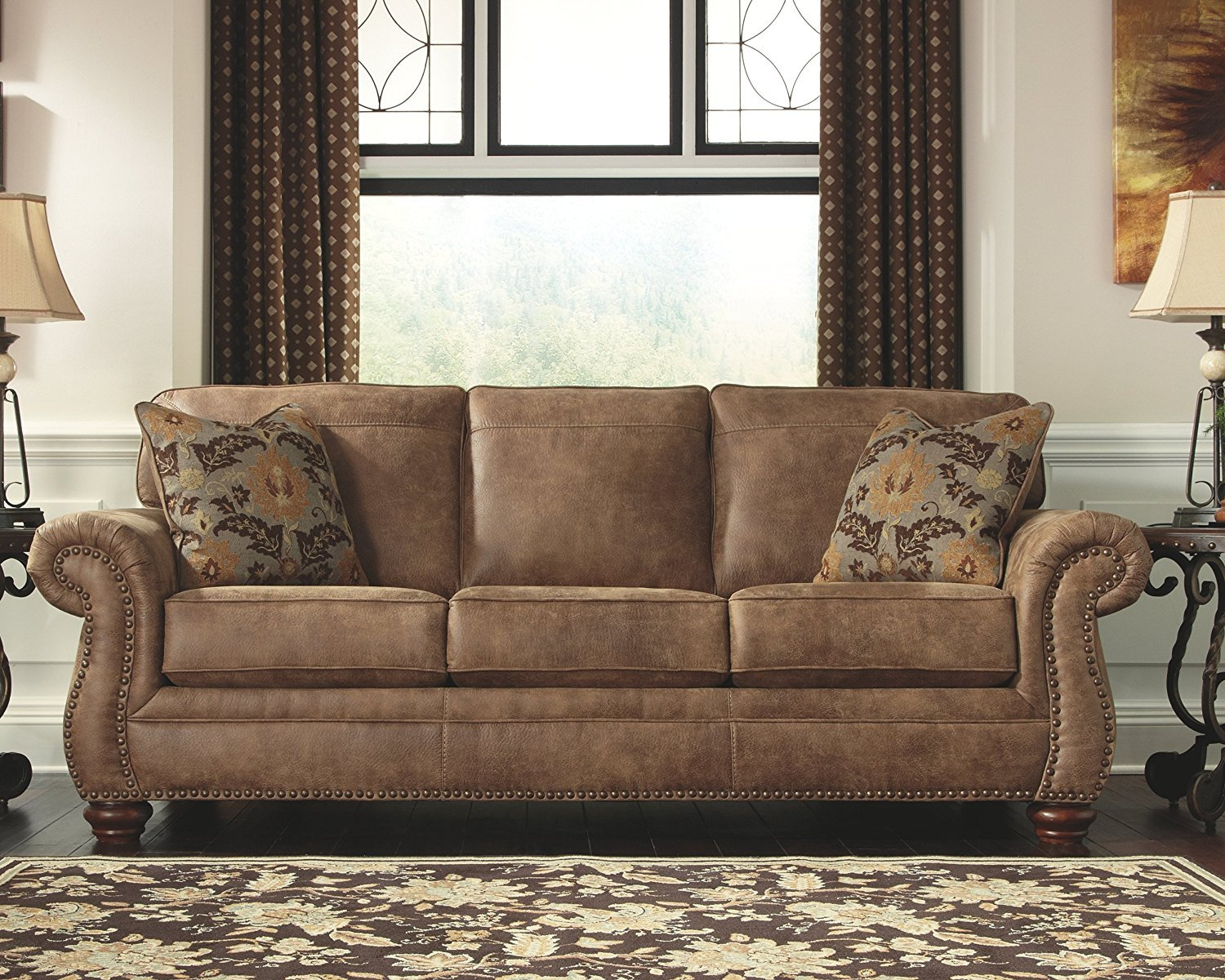 Ashley Furniture Signature Design Modern Sofa Contemporary Style Couch Brown Light Brown