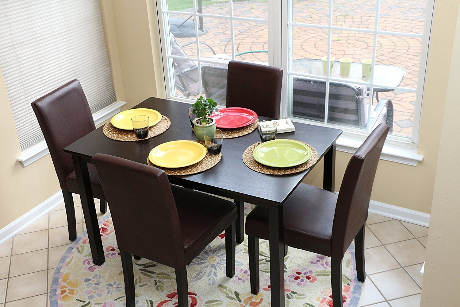 5 Pc Espresso Leather Brown 4 Person Table And Chairs