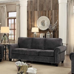 Admirable Cornelia Rolled Arm Sofa With Nail Head Accent Polyester Fabric Cover Dark Grey Pabps2019 Chair Design Images Pabps2019Com