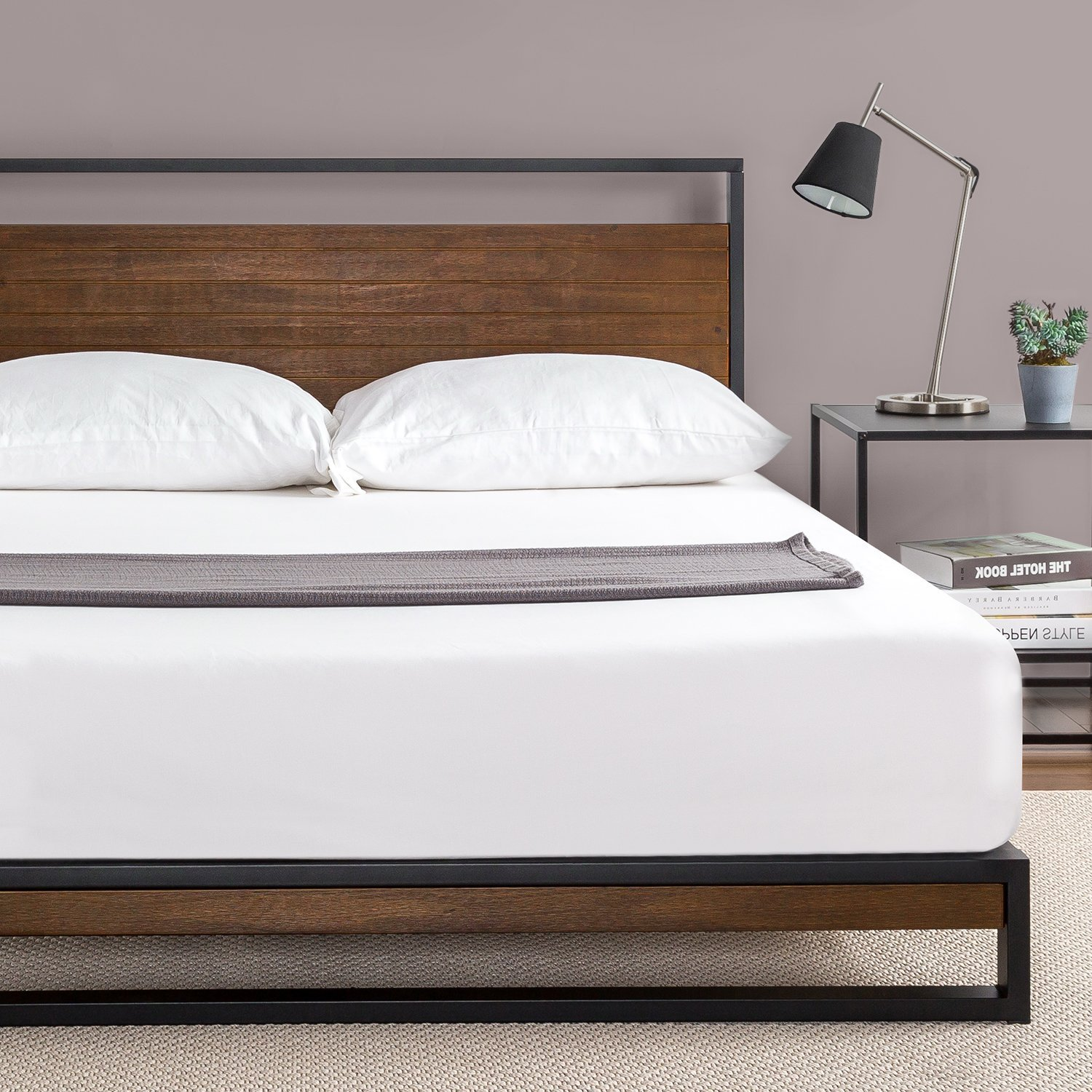 Ironline Metal And Wood Platform Bed With Headboard Box