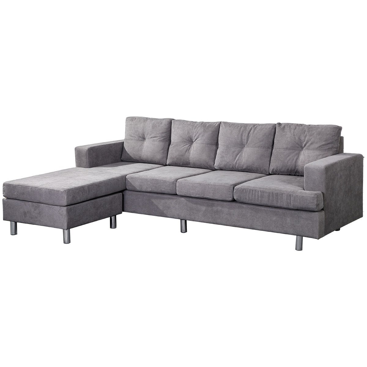 modern style living room l shape sectional sofa with reversible chaise lounge grey