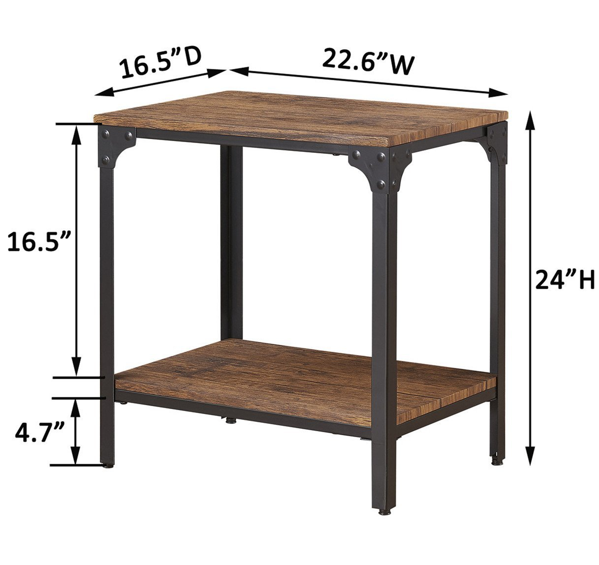 minimal 24 height square end side table night stand with storage shelf brown rochester overstock. Black Bedroom Furniture Sets. Home Design Ideas