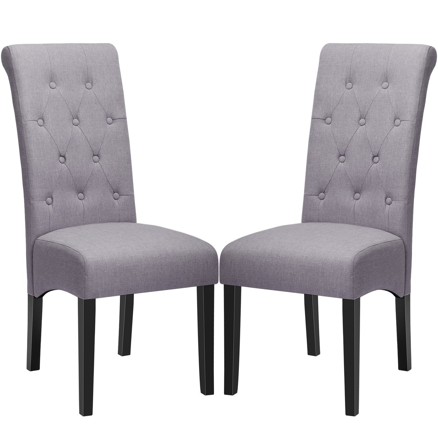 Dining Chairs Fabric Button Tufted Dining Chairs With Solid Wood Legs Set Of 2 Grey