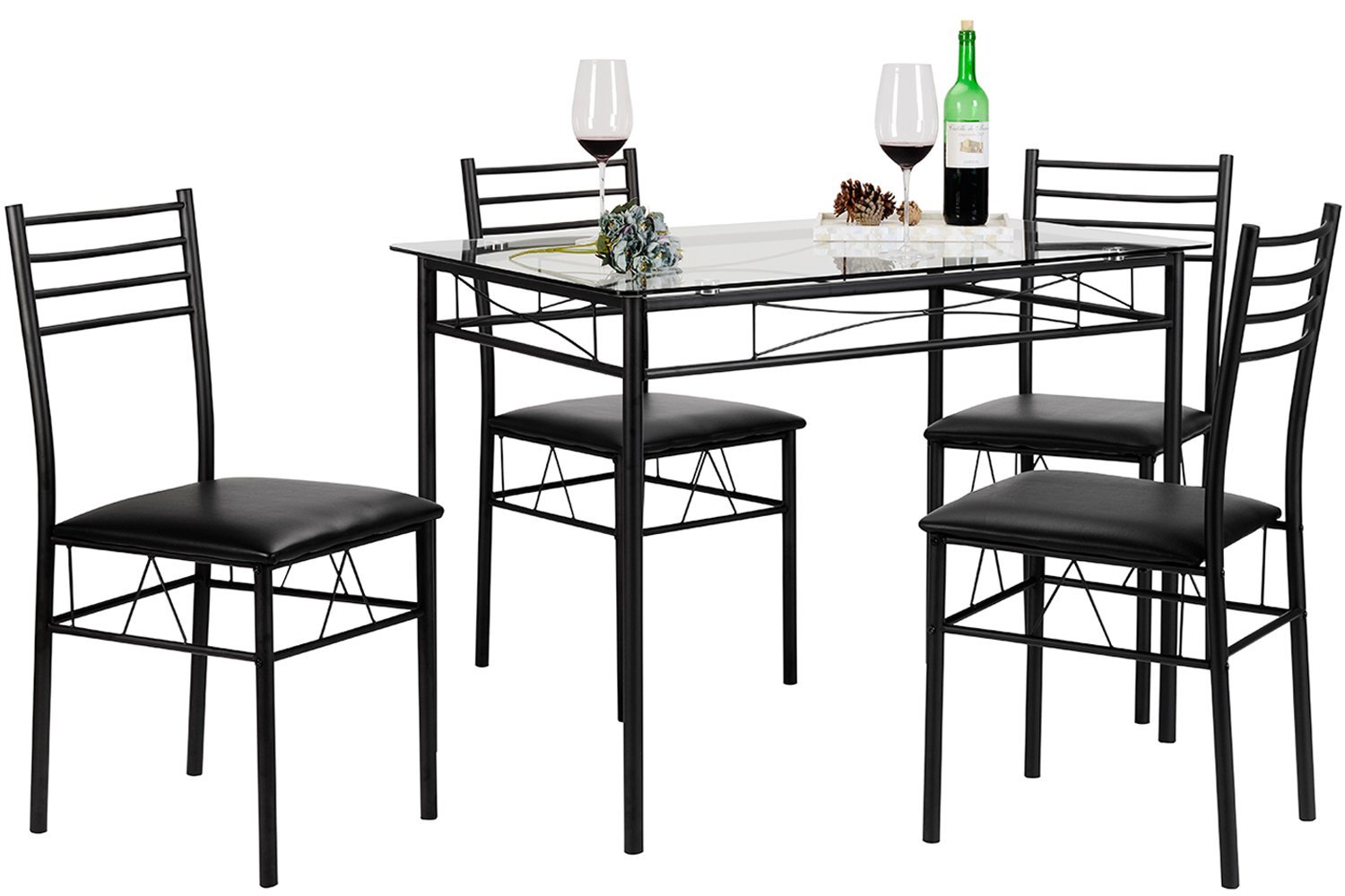 Tiffany Dining Table with 4 Chairs Black – Rochester ...