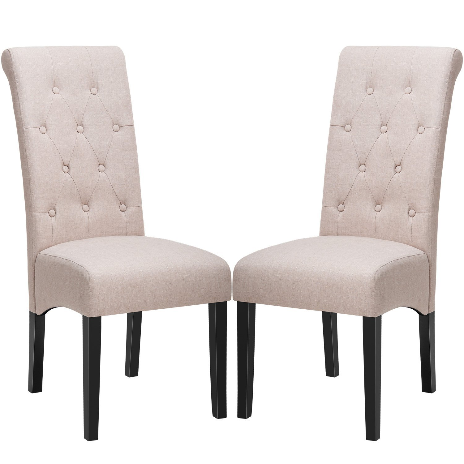 Dining Chairs Fabric Button Tufted Dining Chairs With Solid Wood Legs Set Of 2 Beige