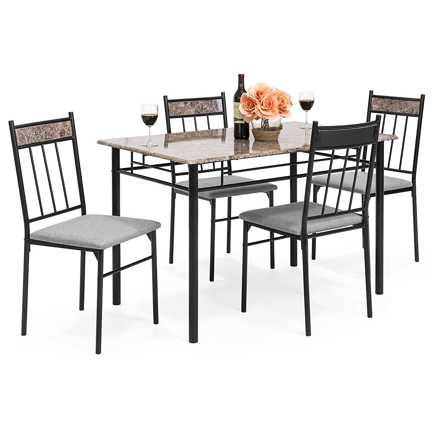 Balboa Counter Height Table Stool 3 Piece Dining Set: Coral 5-Piece Rectangle Faux Marble Dining Table Set W