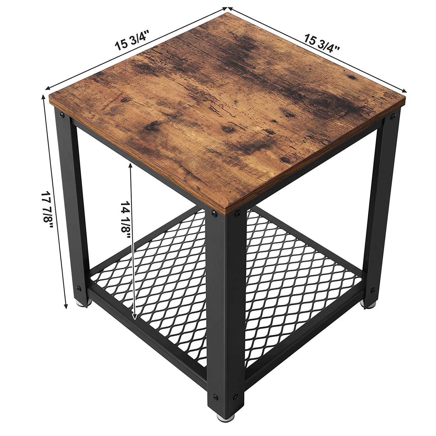Vintage 2 Tiered End Table Square Frame Side Table With