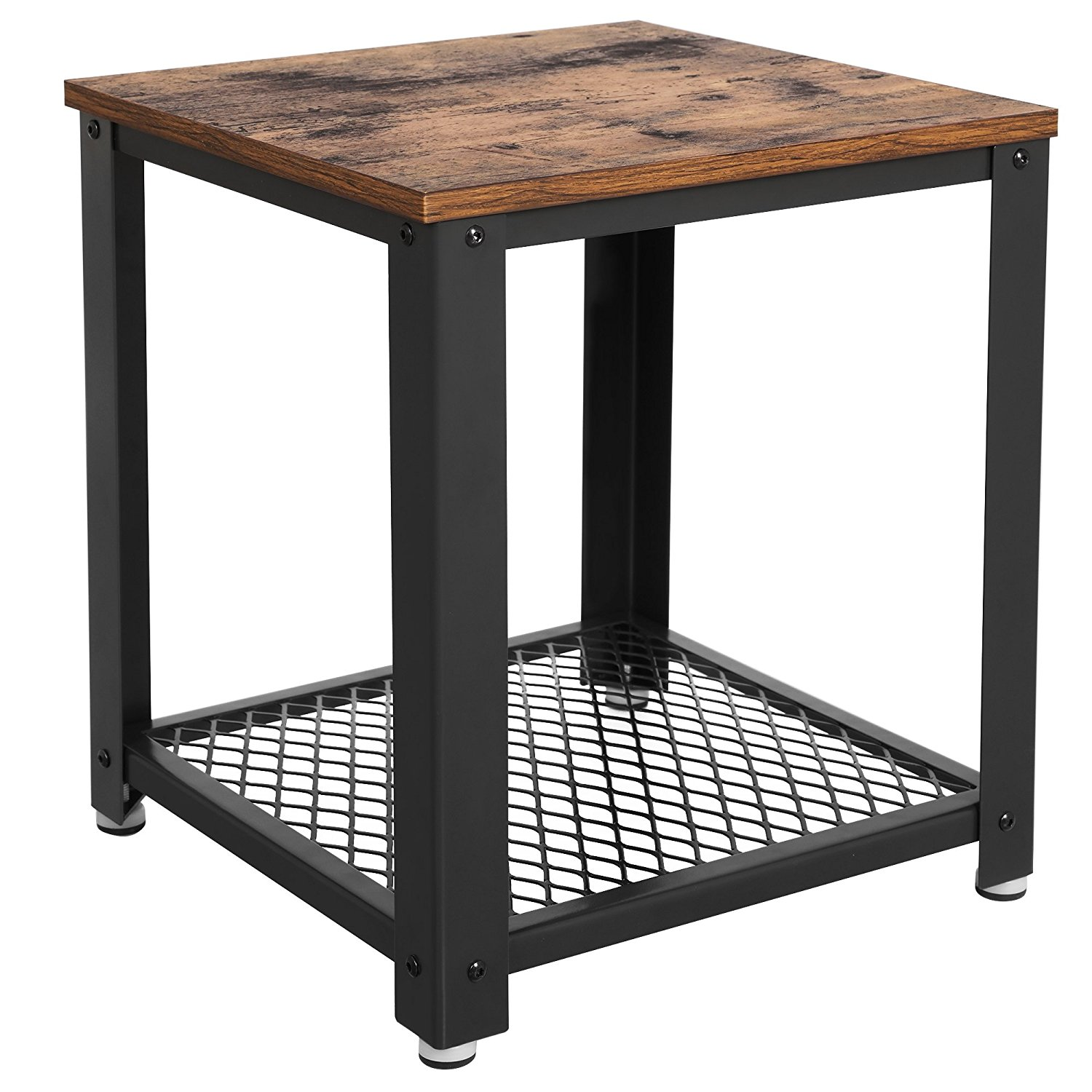 Wood And Metal Uriah Adjustable Accent Table: Vintage 2-tiered End Table Square-Frame Side Table With
