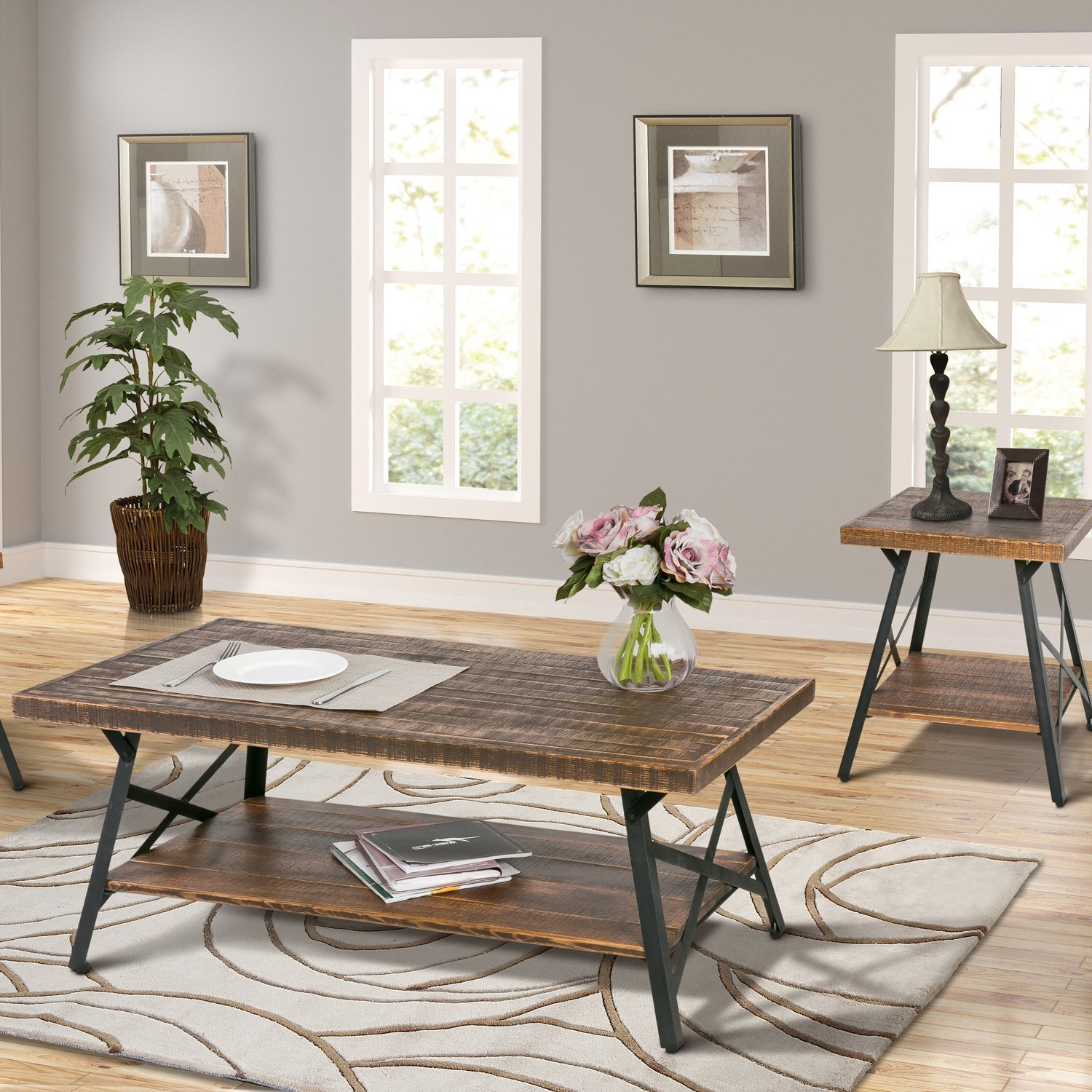 Rustic Wood Coffee Table With Metal Legs End Table Living