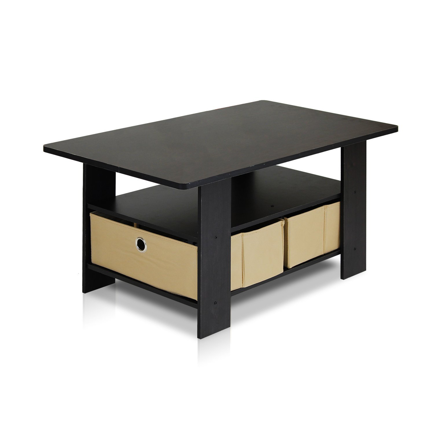 space saver coffee table with bins espresso brown. Black Bedroom Furniture Sets. Home Design Ideas