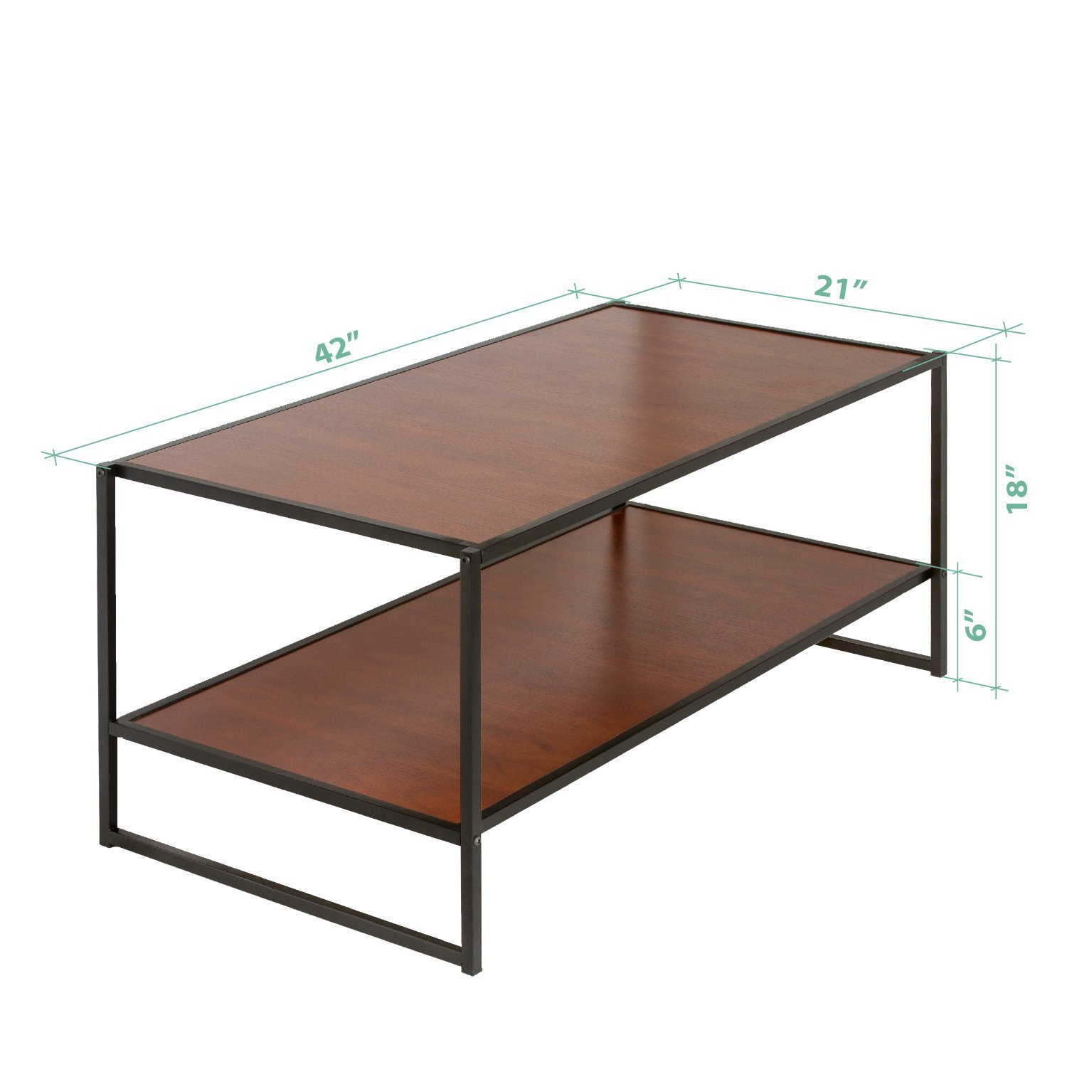 Modern Coffee Table Brown: Modern Studio Collection Deluxe Rectangular Coffee Table