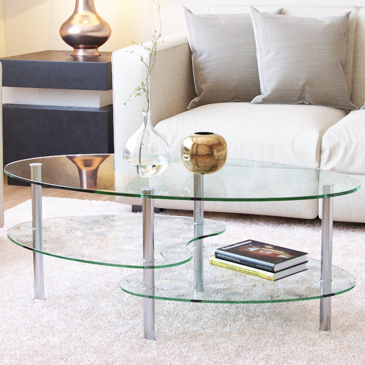 38 Inch Oval Two Tier All Clear Glass Coffee Table