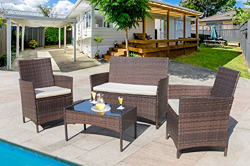 4 Pieces Outdoor Patio Furniture Sets Clearance Rattan