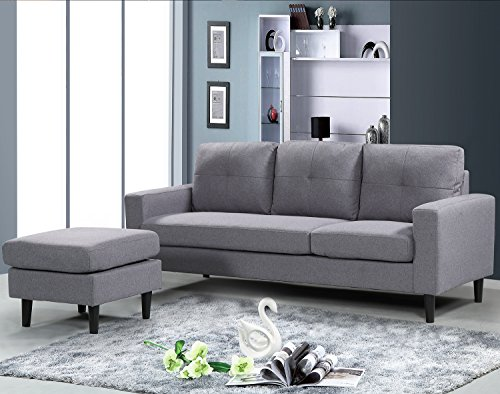 Mid Century Linen Fabric Sectional Sofa Convertible Couch With