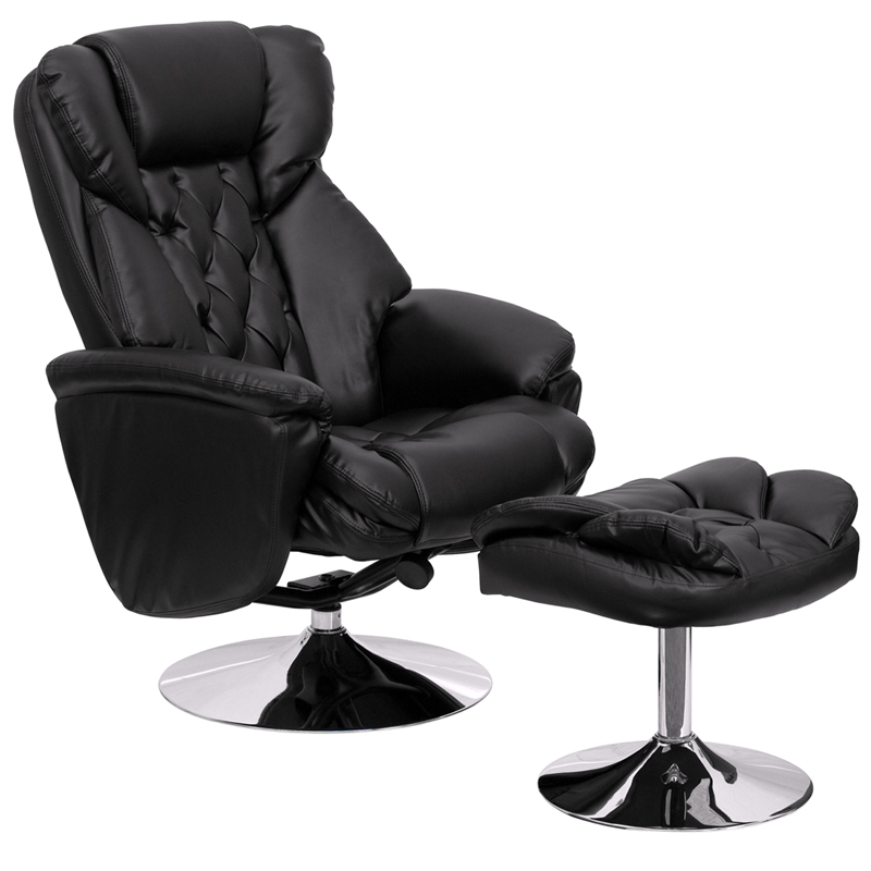Transitional Black Leather Recliner And