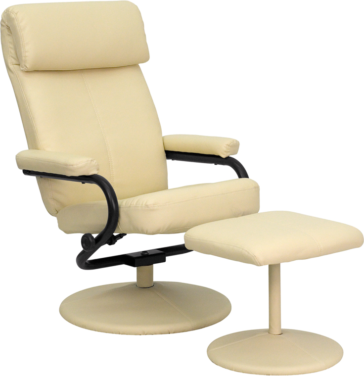 Superb Contemporary Cream Leather Recliner And Ottoman With Leather Wrapped Base Bt 7863 Cream Gg Uwap Interior Chair Design Uwaporg