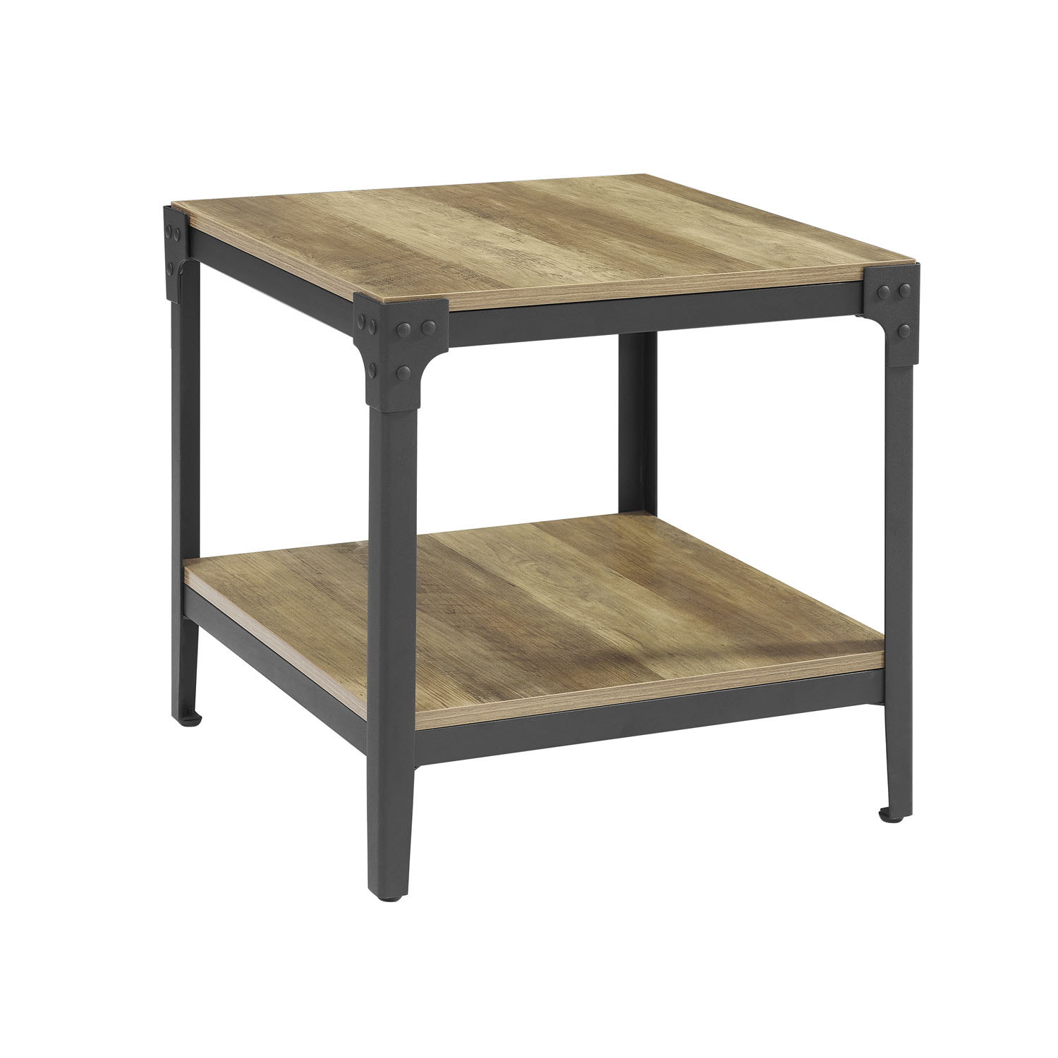 We Furniture Angle Iron Rustic Wood End Table Set Of 2 Rustic Oak