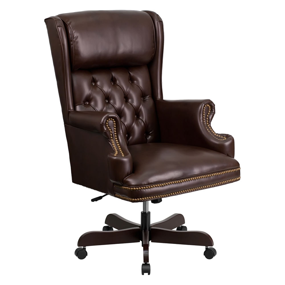 High Back Traditional Tufted Brown Leather Executive Office Chair Ci J600 Brn Gg Rochester Overstock Discount Furniture